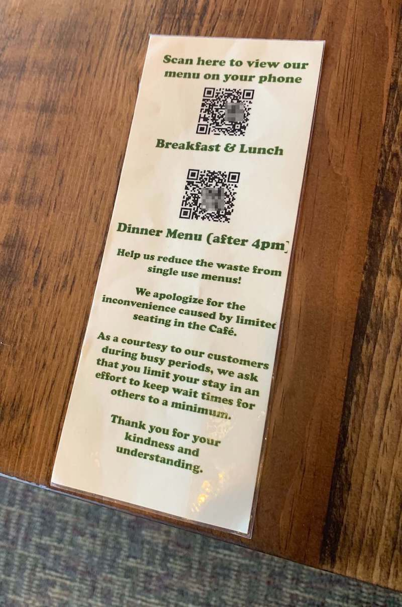 QR code menu on a restaurant table